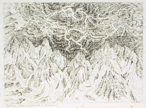 Lightning Strikes the High Peaks: pen on paper