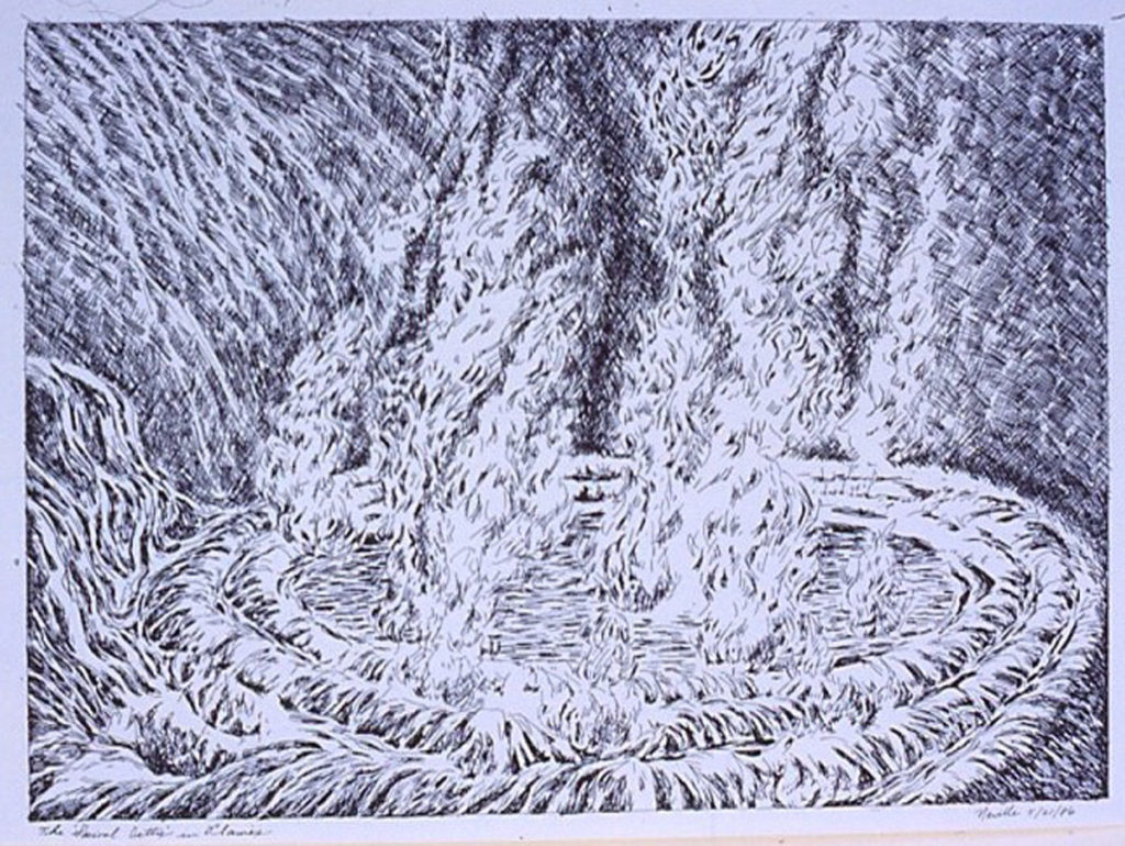 pen on paper study: Spiral Jetty in Flames