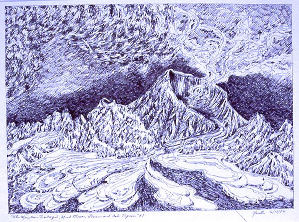 pen on paper study: Nevada del Ruiz