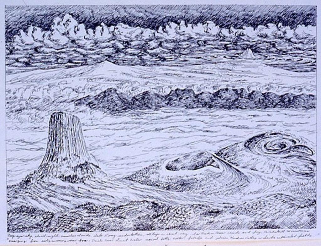 pen on paper study: Devil's Tower