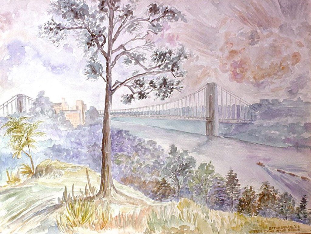 watercolor painting: Dying Tree, George Washington Bridge