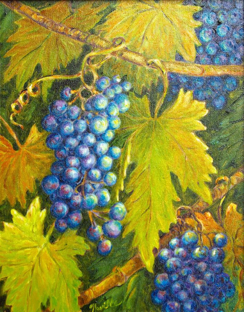 Syrah Grapes: oil painting