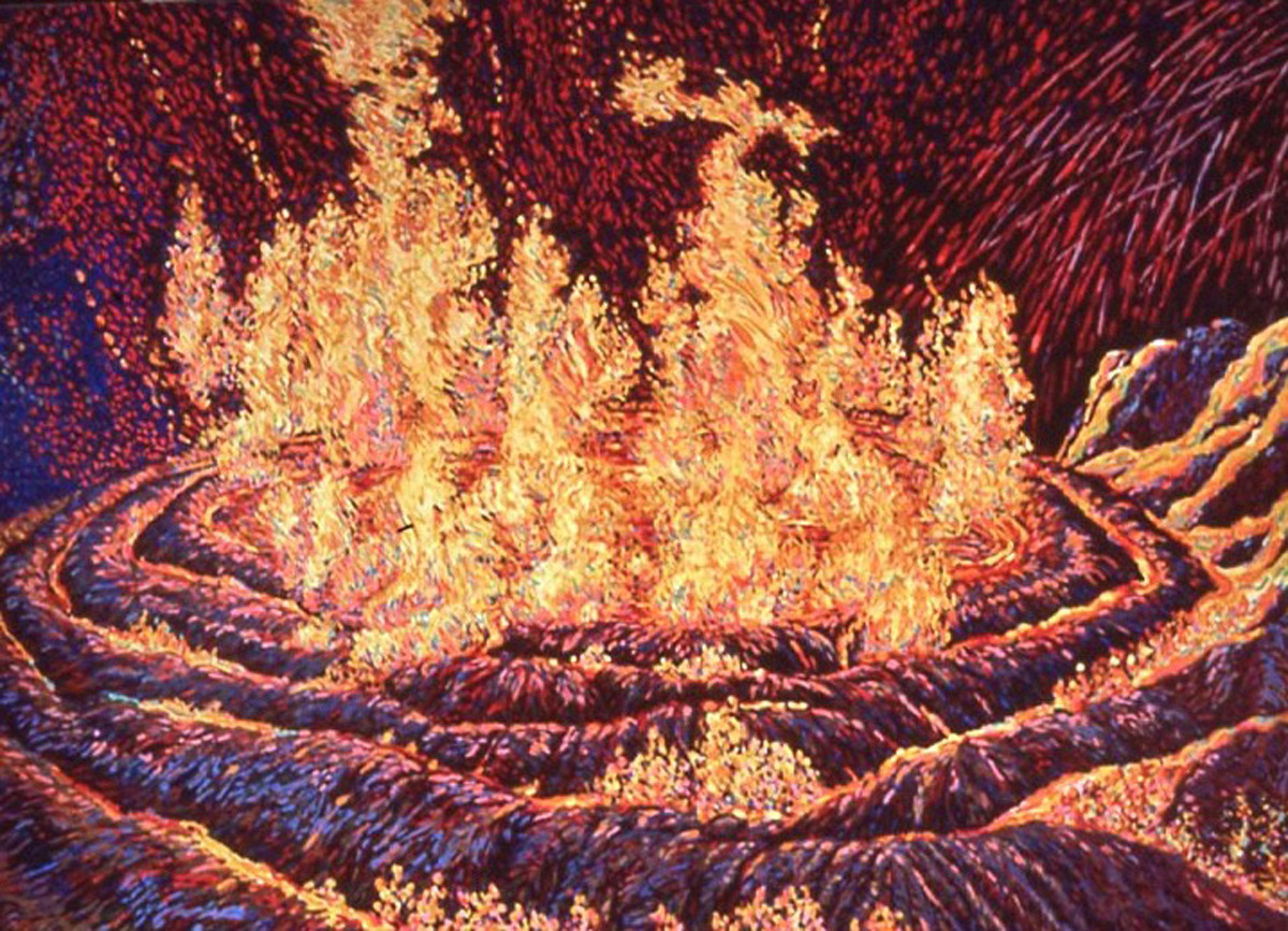 acrylic painting: Spiral Jetty in Flames