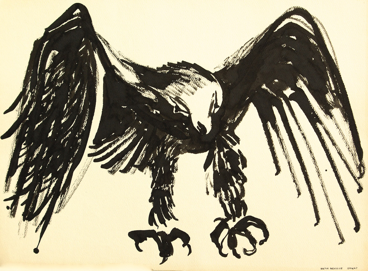 black sumi-e ink: Raven of Death Flies Off