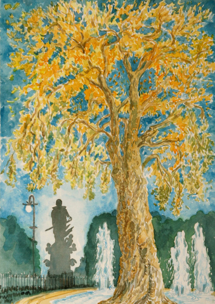 watercolor: Sycamore Tree, Russell Park, London, England