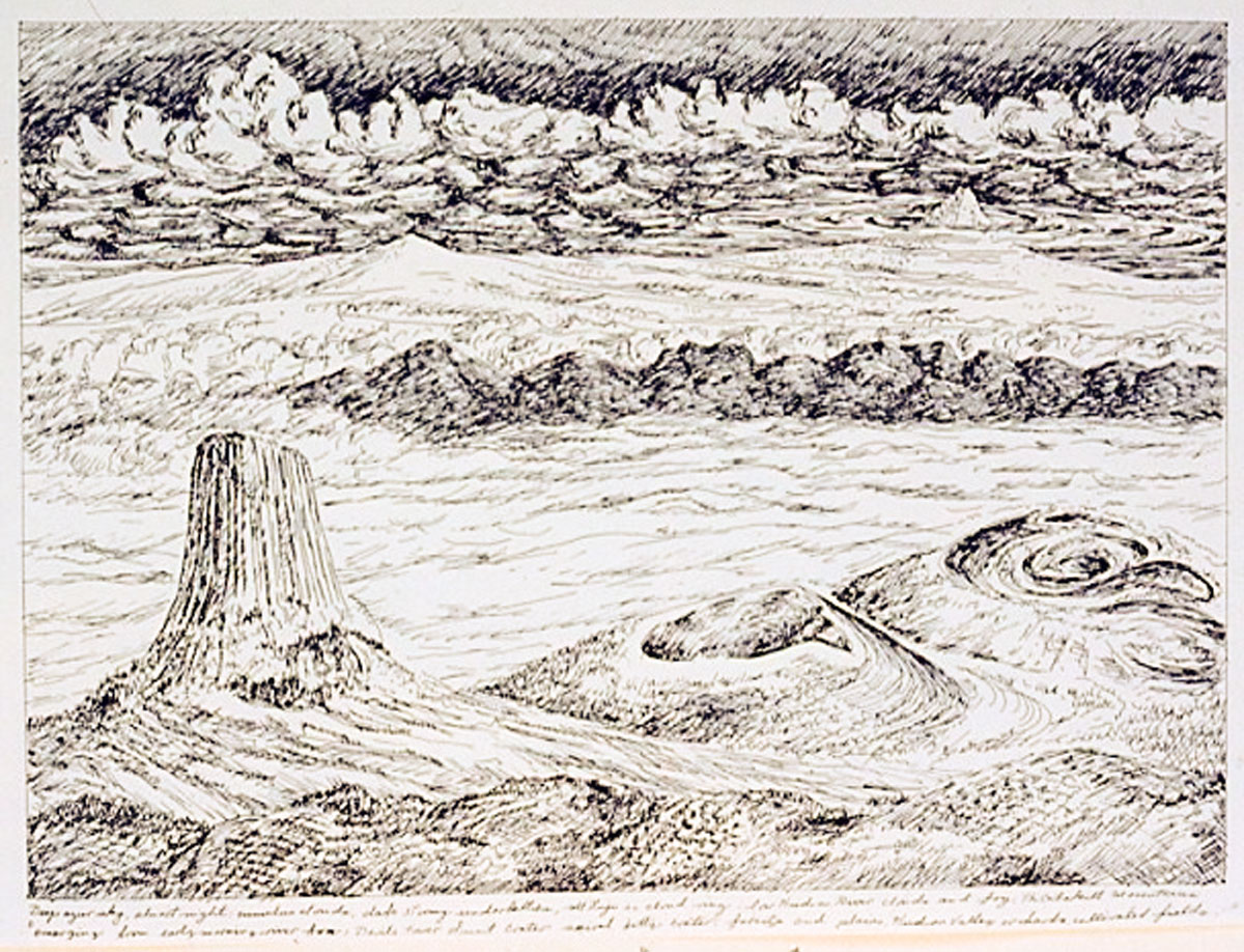 Devil's Tower drawing, pen on paper