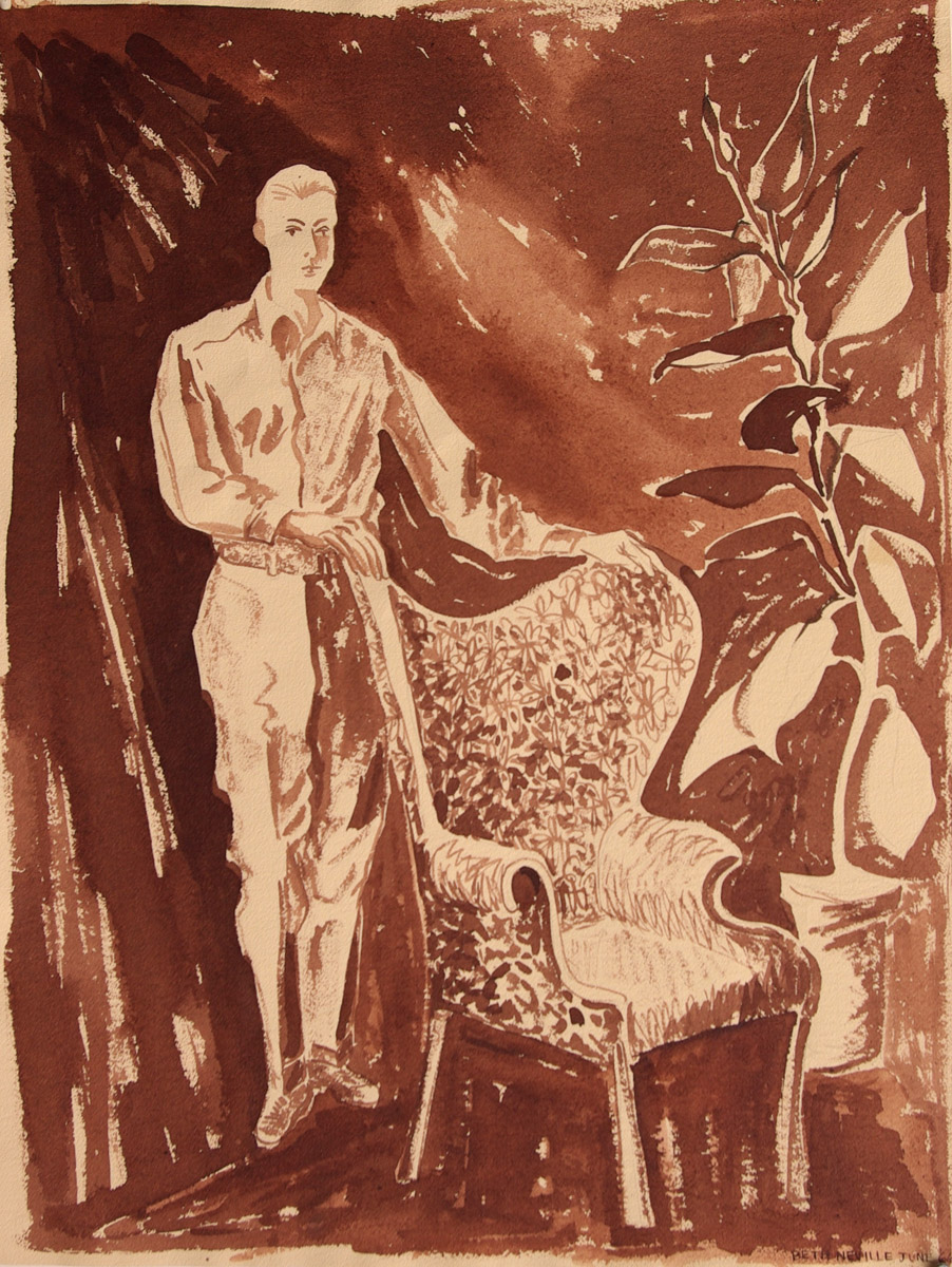 Sepia ink painting: Robert Standing by the Empty Bat-wing Chair