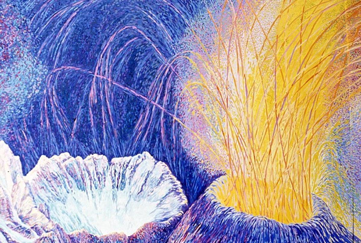 Cold and Hot Caldera, 2: acrylic painting