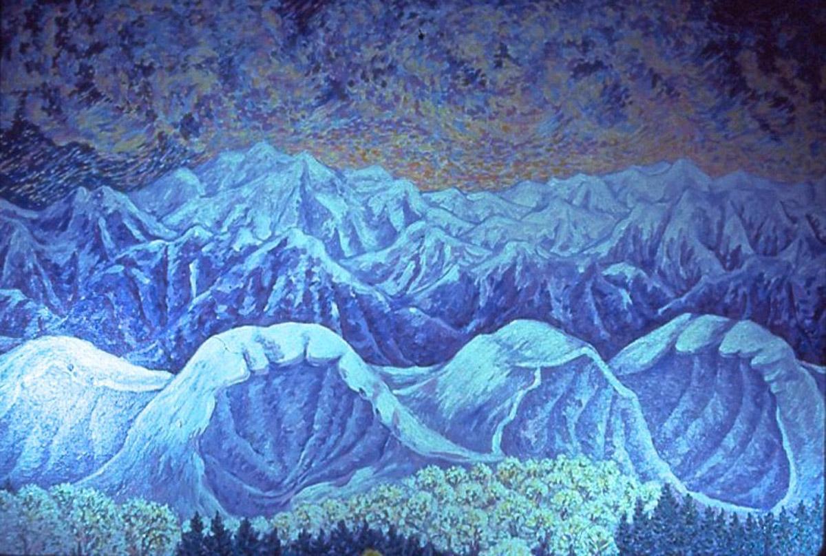 acrylic painting: Snow Caves Eating Apple Farm (detail)