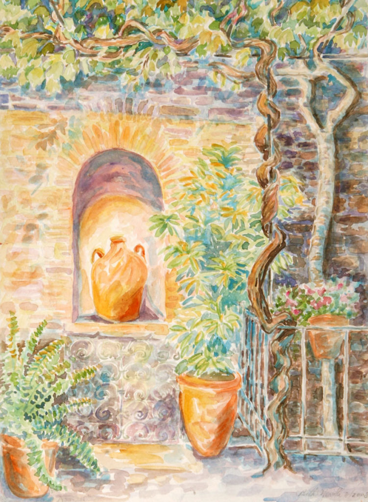 watercolor: Vine, Courtyard, Assisi, Italy