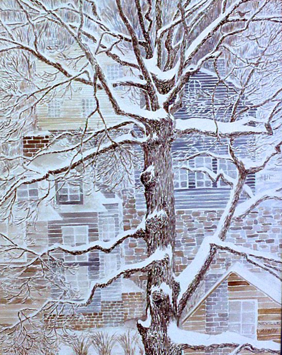 watercolor: Oak Tree in Snow, Lewis Pkwy Yonkers NY