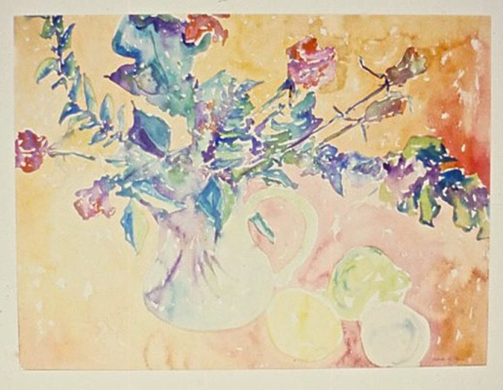 Roses with Lemons, West Haven: watercolor painting