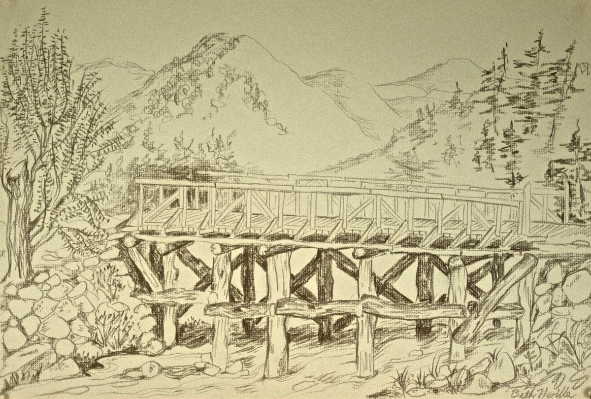 charcoal drawing: Bridge, Korea