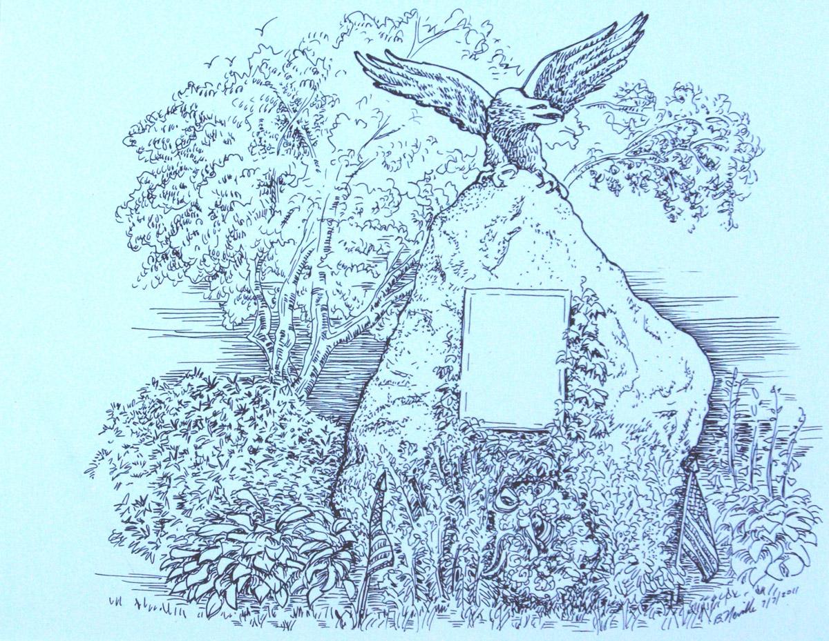 pen on paper: Civil War Monument, Milton