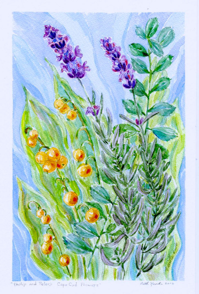 Peter and Philip's Flowers: watercolor painting