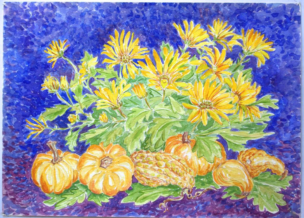 Pumpkins, Susans: watercolor painting