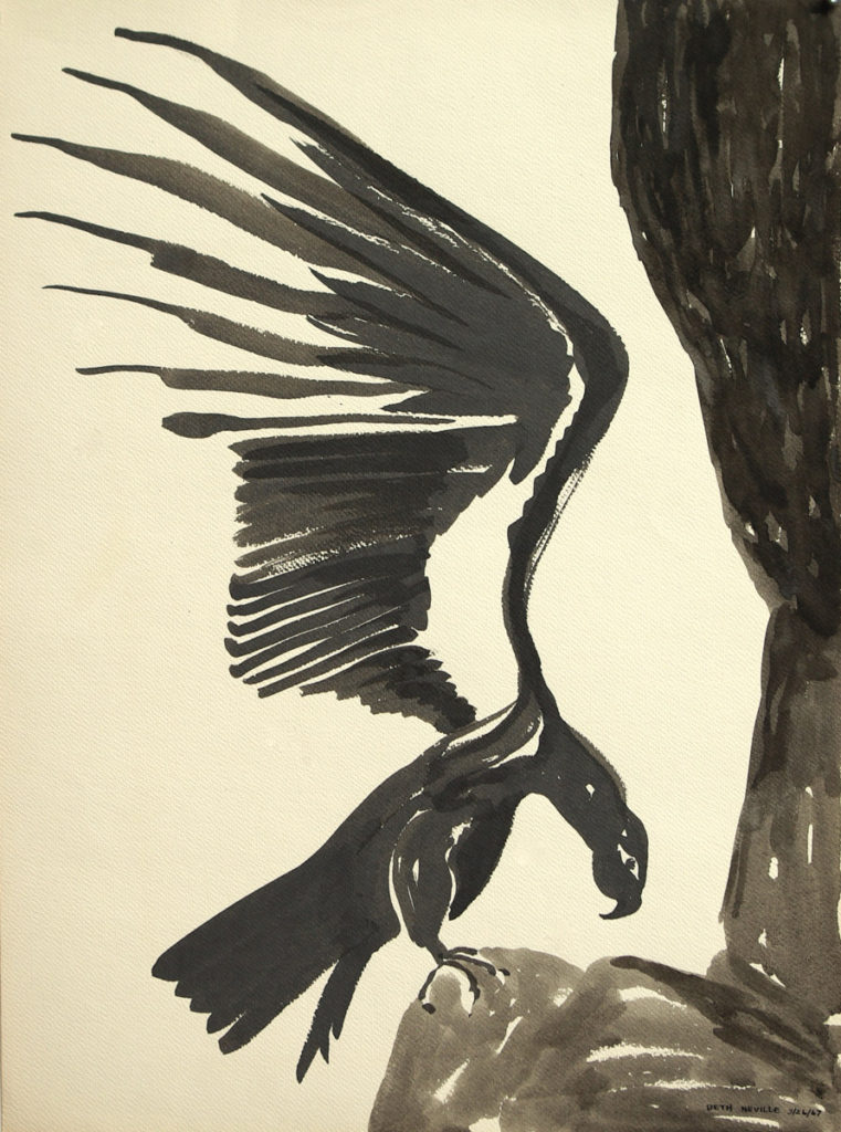black sumi-e ink: Raven of Death Resting