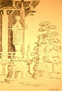 charcoal drawing: Japanese Ceremonial Lantern