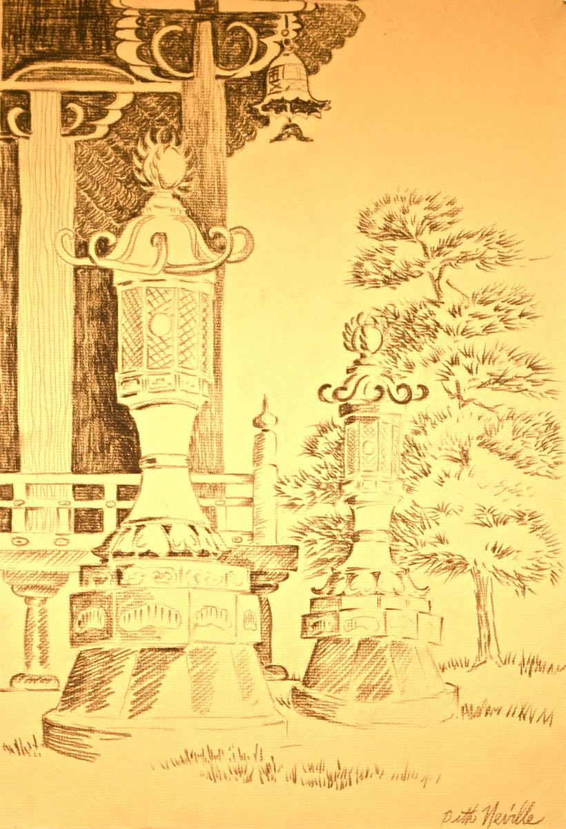 charcoal drawing: Japanese Ceremonial Lantern