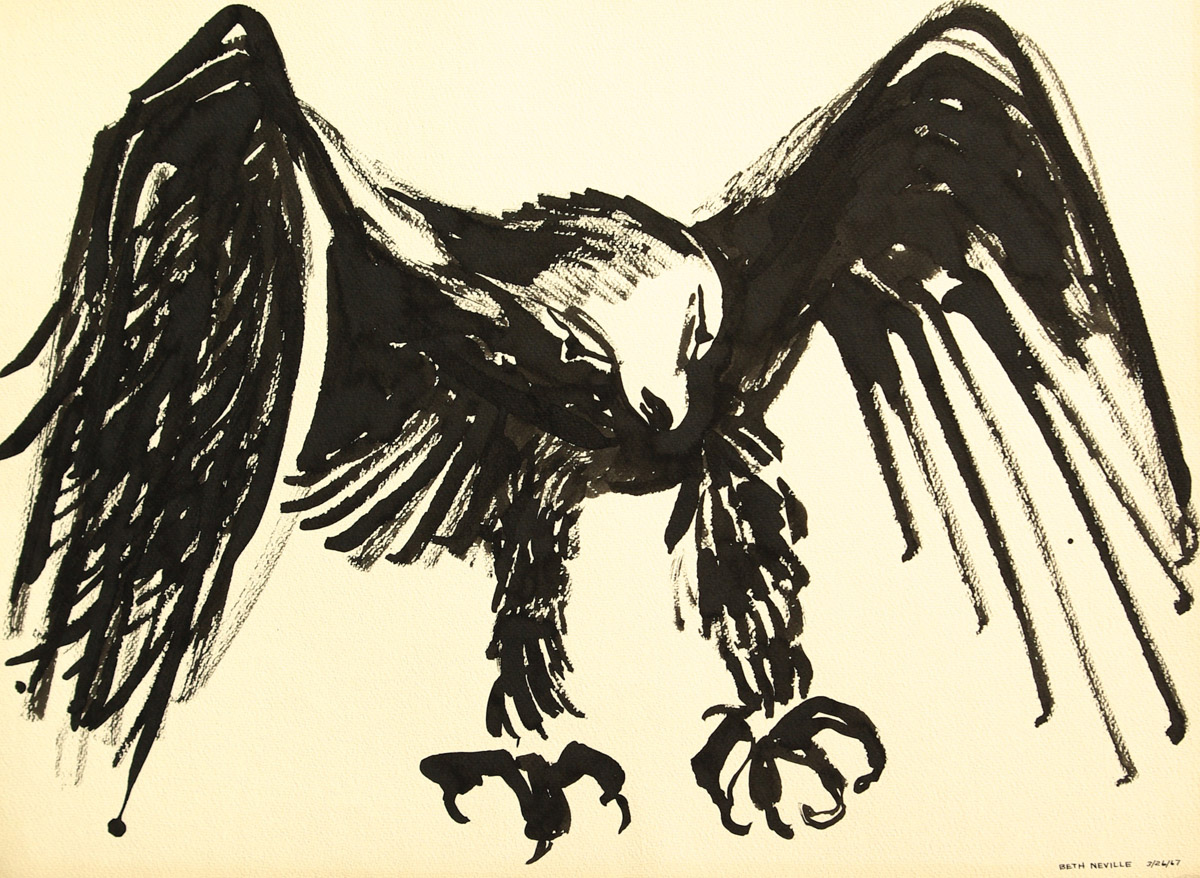 black sumi-e ink: Raven of Death, Satisfied