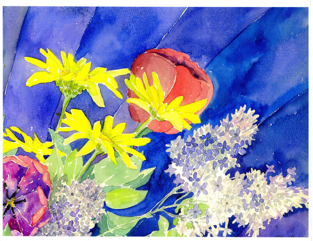 Tulips, Lilacs: detail of watercolor painting