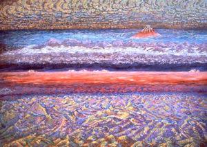 Mt. Fuji, Caldera, acrylic painting