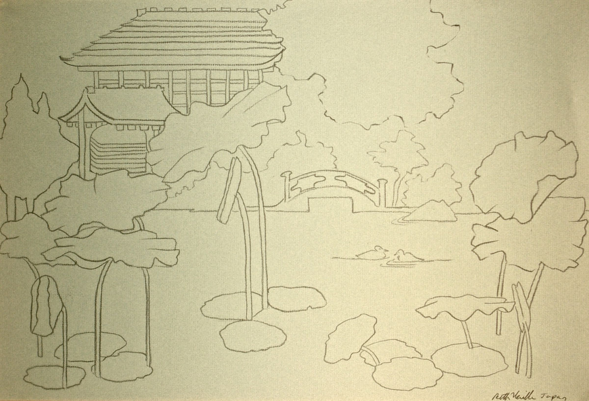 charcoal drawing: Temple, Water Lilies, Kyoto