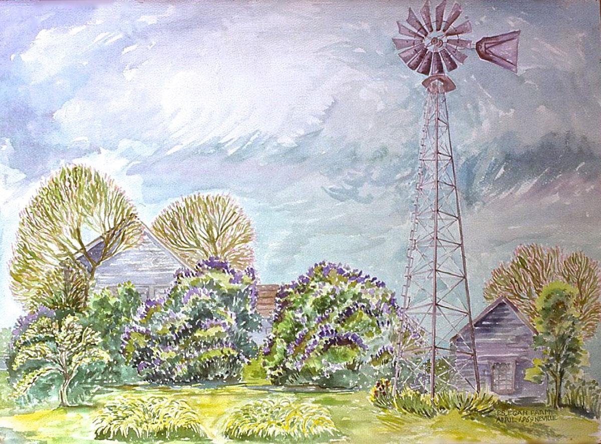 watercolor: Windmill, Lilacs, Egan Farm, Claverack, NY