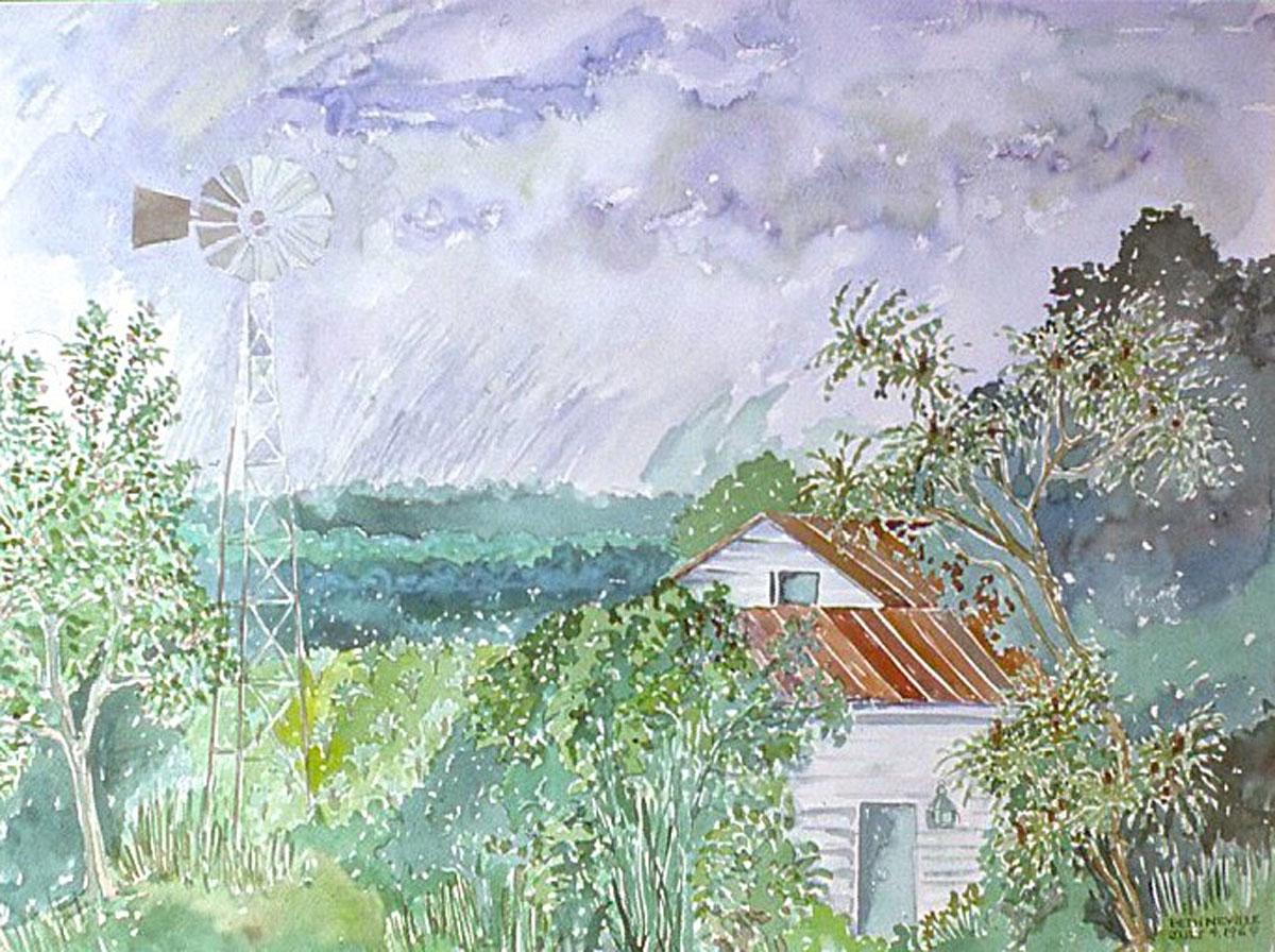 watercolor: Egan Farm House, Windmill, Claverack NY