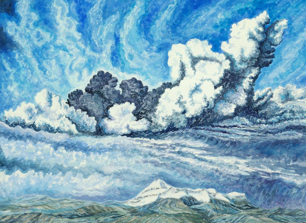 Eyjafjallajokull, Iceland: watercolor painting
