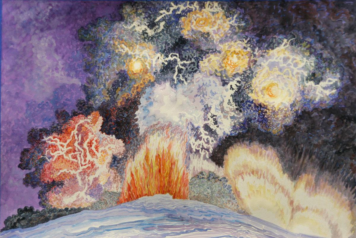 Eyjafjallajokull volcano: watercolor painting