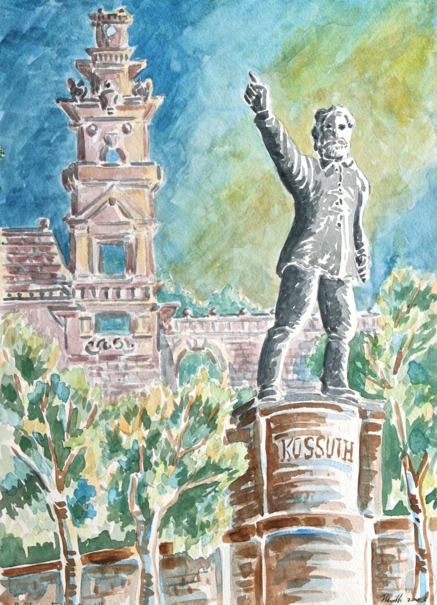 watercolor: Kusoth Statue, Budapest, Hungary