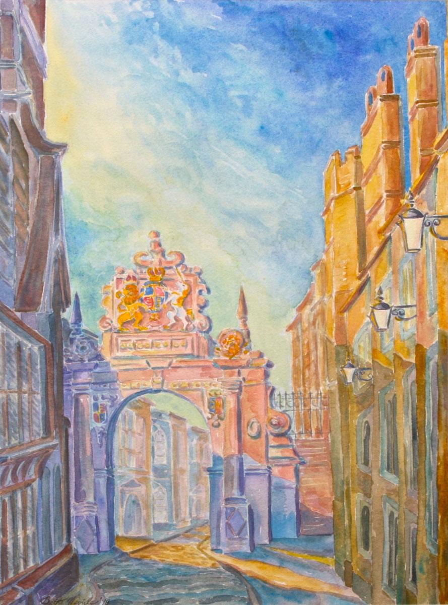 watercolor: Neville Gate, Cambridge, England