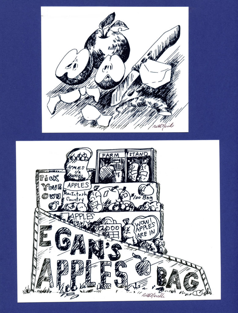 Farm Stand Paring Apples illustration, Smith Yearbook