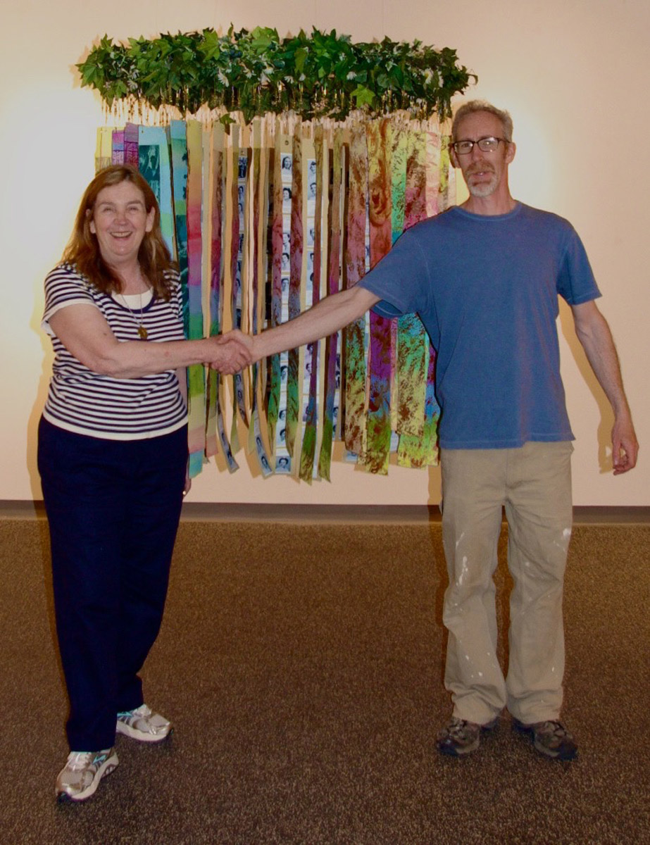 """Thank you Tim, for a great help installing """"Circle of Life,"""" in the Jannotta Gallery"""