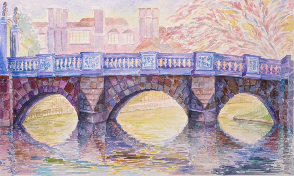 watercolor: Old St. John's Bridge, Cam River, Cambridge, England
