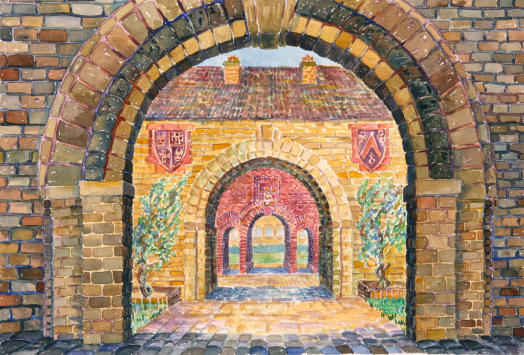 watercolor: Courtyard Arches, triple arches, Cambridge, England