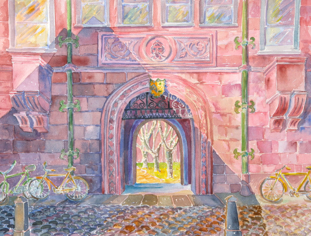 watercolor: Arch, Bicycles, Colleges; Cambridge University, England