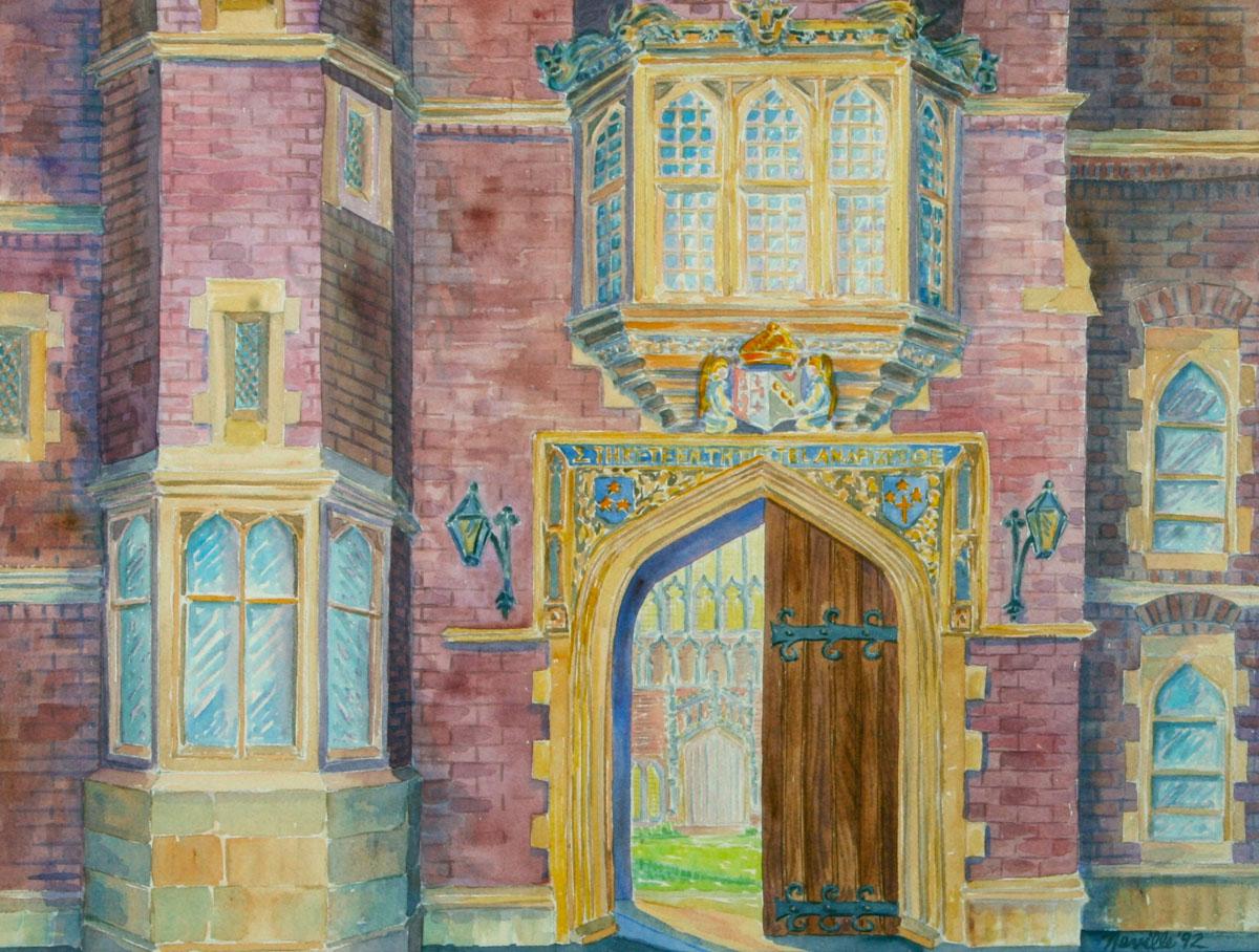 watercolor: Tudor Arch, King's College, Cambridge, England
