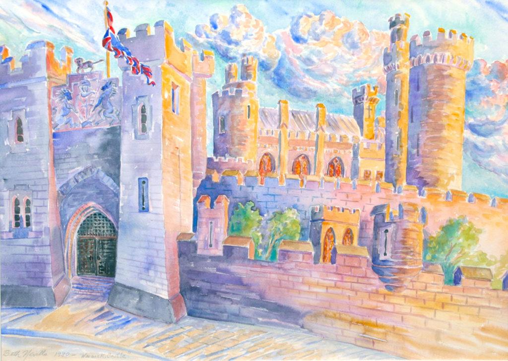 watercolor: Medieval Arches, Warwick Castle, Warwick, England