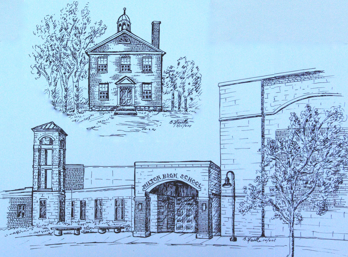 drawing: Old Milton Academy, and Milton High School