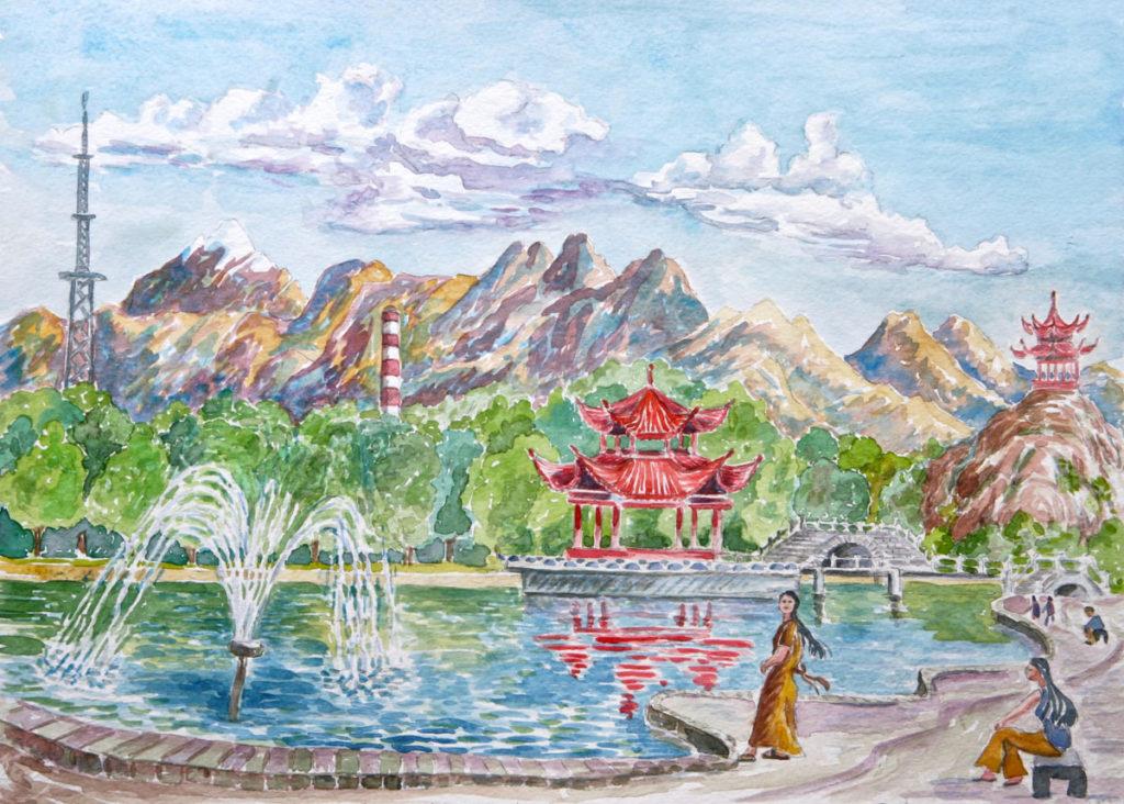 watercolor: Lake at Xinjian University Urumqi China
