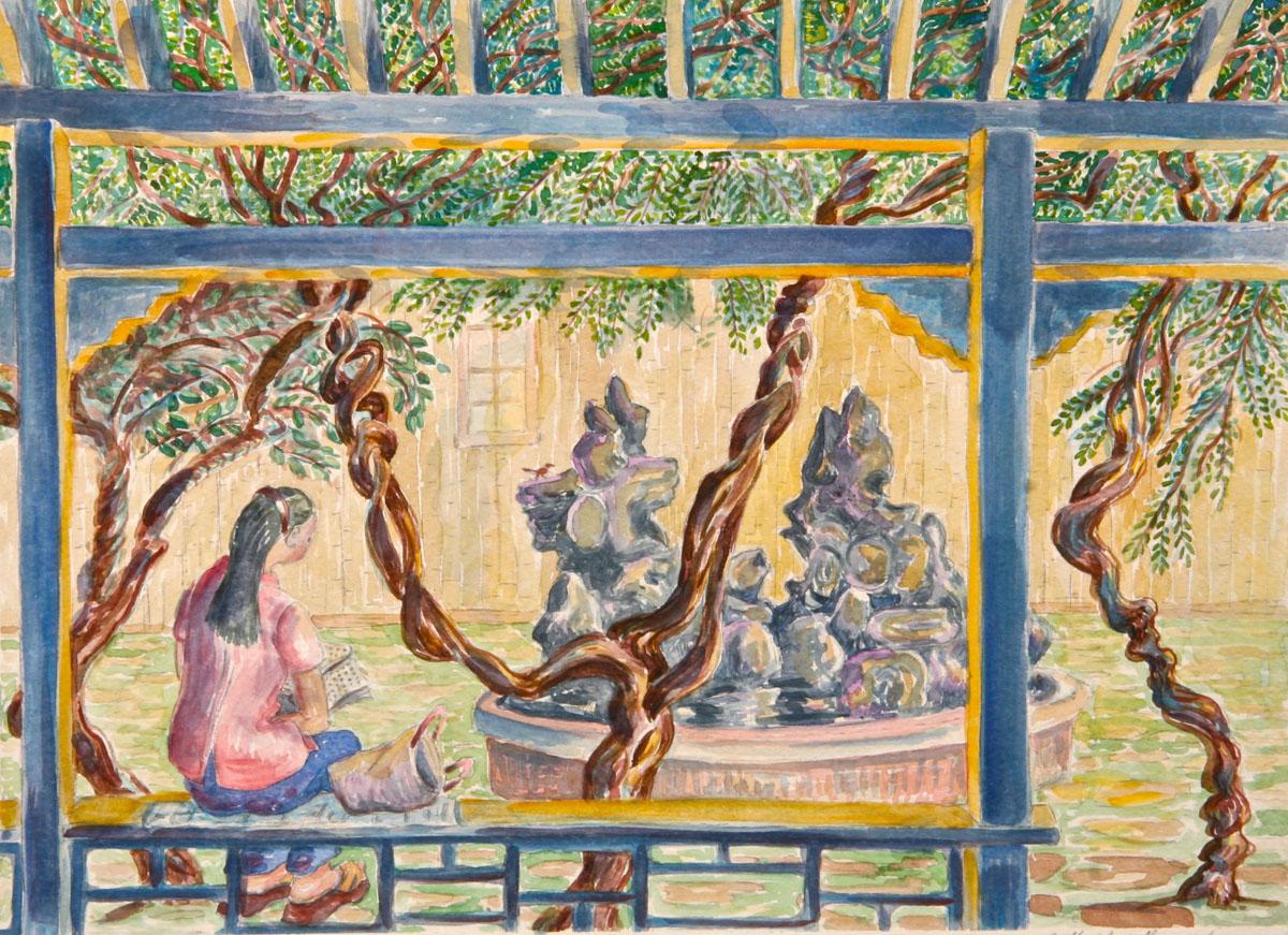 watercolor: Xi'an University Student Reading, Xi'an China