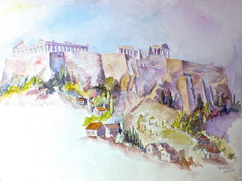 watercolor: Acropolis, Athens, Greece