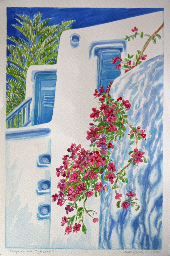 watercolor: Bouganvillea, Island of Mykonos, Greece