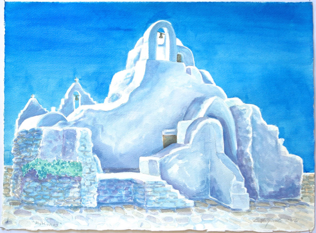 watercolor: Greek Orthodox Church, Harbor, Mykonos, Greece