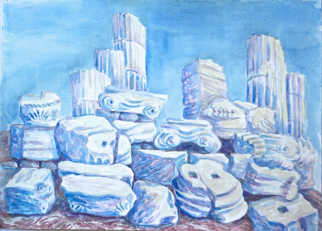 watercolor: Column Sections, Acropolis, Athens, Greece