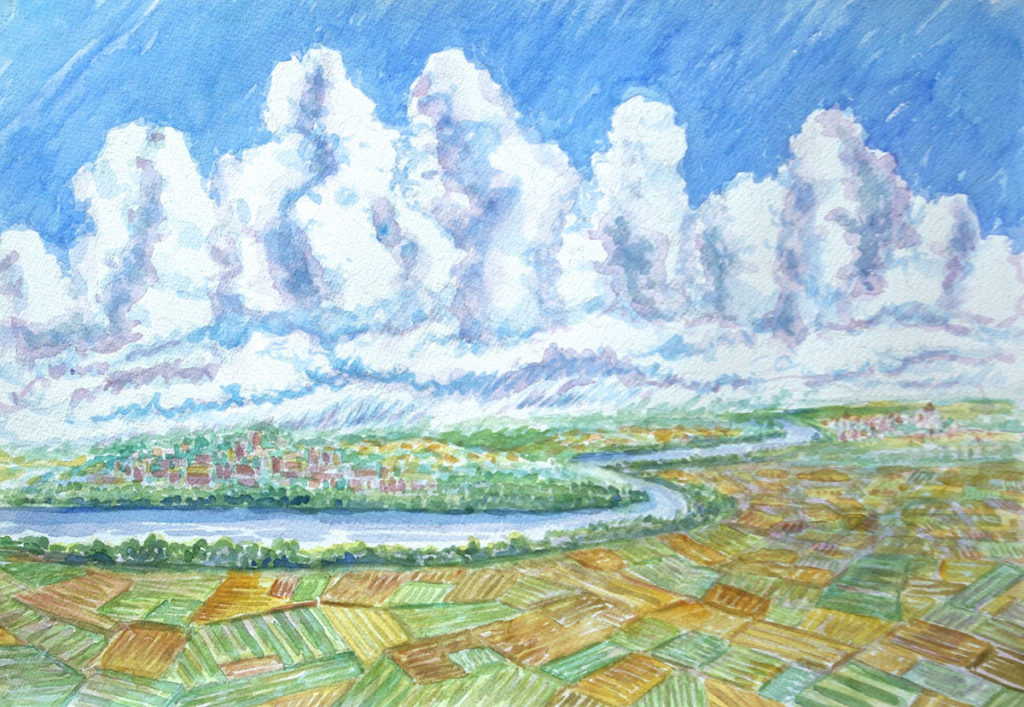 watercolor: Danube River, Cumulus Clouds