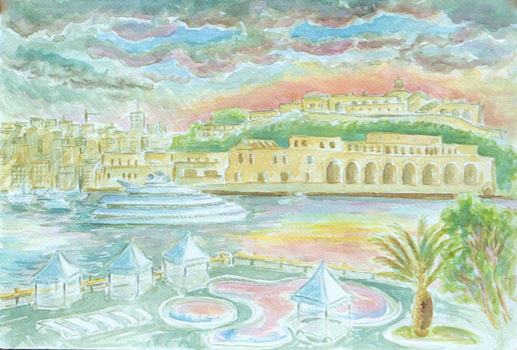 watercolor: Harbor View from Valletta Hotel to Fort Saint Elmo, Malta
