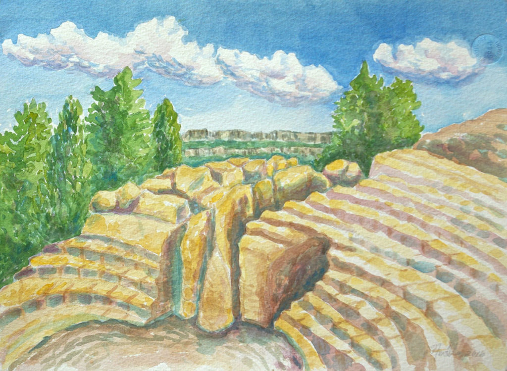 watercolor: Ancient Greek Theatre, Syracusa, Italy